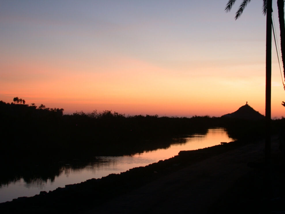 Close to the Mulege River, shown here at sunrise.
